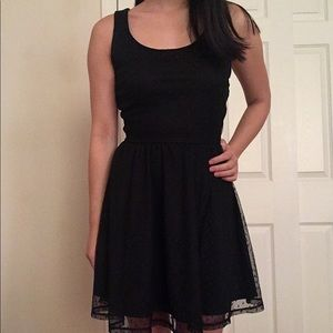 Black polka dot cut-out dress